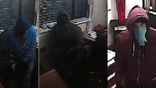 CCTV images of three of the men wanted in connection with the burglary