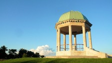 Blue skies behind Barr Beacon War Memorial.