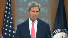 US Secretary of State John Kerry briefing reporters in the White House