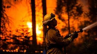 Firefighters have been battling the huge blaze.