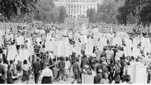 Around 250,000 civil rights demonstrators marching in Washington, D.C., on 28 August 1963.