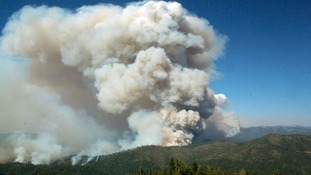 The Rim Fire seen from the Pilot Peak Lookout near Yosemite National Park in California.