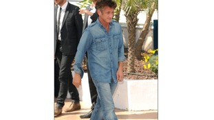 Sean Penn does 'double denim' at Cannes.
