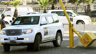 The convoy of the UN inspectors in Syria.
