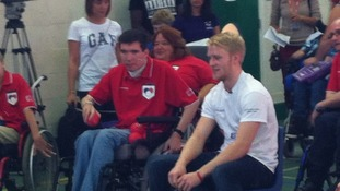 Paralympic sprinter Jonnie Peacock having a game of Boccia at Impington College, Cambridge.