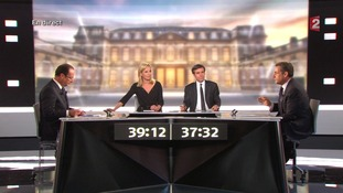 Sarkozy and Hollande took part in a television debate in France.