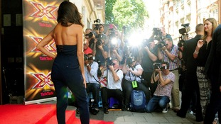Nicole Scherzinger faces the press as she arrives at the X Factor launch.