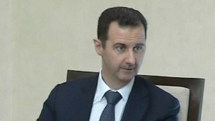 Syria's President Bashar al-Assad chairing a meeting with regional leaders today