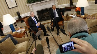 Barack Obama and Benjamin Netanyahu face the media after talks at the White House