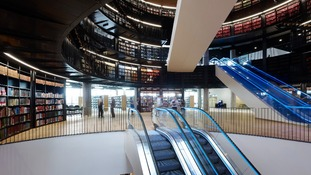Hundreds of thousands of books are stored in the rotunda of the new library