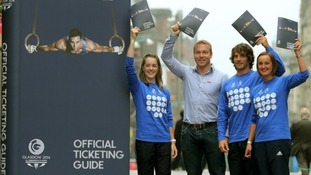 Sir Chris Hoy launched the ticketing guide with (l-r) Jade Nimmo, Colin Gregor and Susan Egelstaff.