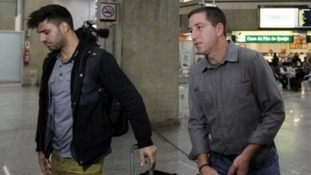David Miranda (left) travelled to Rio to meet his partner, Guardian journalist Glenn Greenwald.