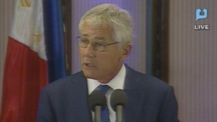US Defence Secretary Chuck Hagel speaking in Manila, the Philippines, this morning.