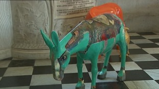 One of the 25 donkeys lining the Cathedral