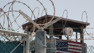 A guard tower is pictured at the Camp Delta detention centre for terrorism suspects at Guantanamo Bay