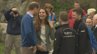 William and Kate share a joke.