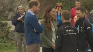 William and Kate meet some of the marathon runners ahead of the race.