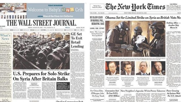 The Wall Street Journal and The New York Times front pages. Credit