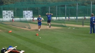 The England team in the practice nets ahead of the Women's Ashes.