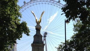 The London Eye bathed in sunshine