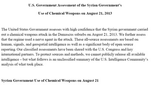 The US has released an assessment of the Syrian government's use of chemical weapons.