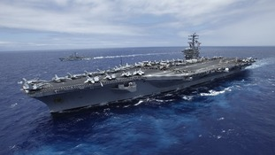 The nuclear-powered aircraft carrier USS Nimitz