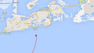 The red dot marks Diana Byad's current position off the coast of Florida.