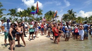 Well-wishers gather on Smathers Beach in Key West, Florida, as Diana Nyad nears the end of her journey.