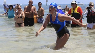 US veteran swimmer Diana Nyad arrives at Smathers Beach in Key West, Florida.