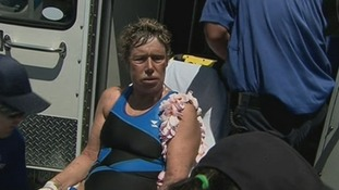 Diana Nyad was placed on a stretcher and took her to hospital.