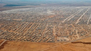 Aerial view of the Zaatari camp in Jordan - the world's second largest refugee camp