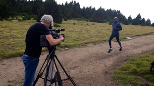 Mo Farah at Font-Romeu-Odeillo-Via in the Pyrynees, where he is based for altitude training