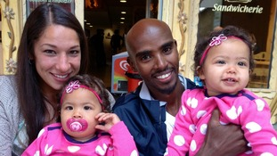Mo Farah with wife Tania and his twin daughters Aisha and Amani