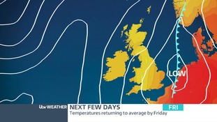 Low Pressure will replace the High on Friday when it will turn unsettled