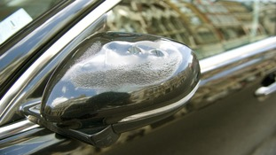 Wing mirror and badge also appeared to melt