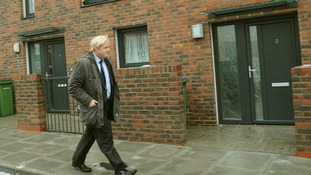 Boris Johnson at the site of new affordable houses in south east London