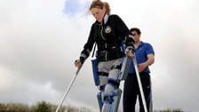 Claire Lomas is the first to walk the London marathon course in a bionic suit. She will not receive a medal when she finishes.