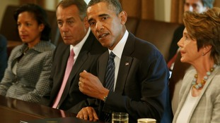 President Barack Obama talks to bipartisan Congressional leaders in the Cabinet Room at the White House.