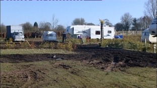 Gypsies have set up an illegal camp on greenbelt land