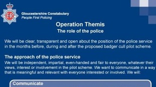 A section of the document laying out Gloucestershire Police's approach to policing the cull