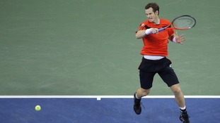 Andy Murray plays Denis Istomin in the US Open tournament in New York