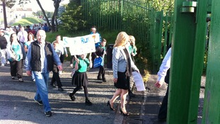 parents and children arriving at school