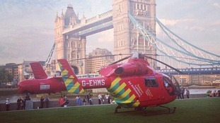 London's Air Ambulance near the scene last night