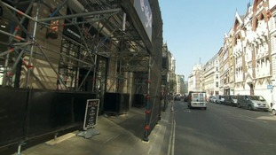 The scaffolding will help protect buildings and passers-by from glare