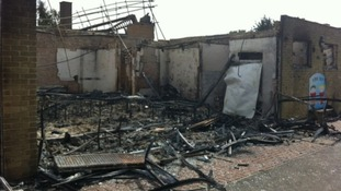 John Ray Infant School is gutted by fire.