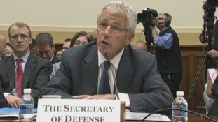 Defence Secretary Chuck Hagel addresses the House Foreign Affairs Committee.