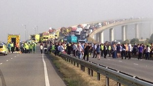 Emergency crews at work after the collision on the A249 involving up to 100 vehicles