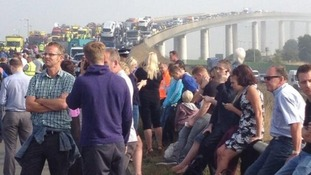 Drivers left stranded after the crash on the A249, Sheppey