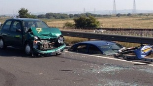 Cars crumpled and in pieces after the crash in Sheppey on the A249