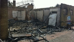 John Ray Infant School badly damaged by fire.